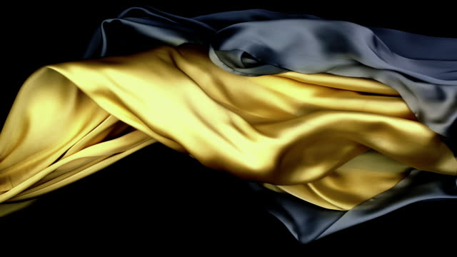 metallic silver and gold silky fabrics flowing and waving horizontally in super slow motion and close up, black background - eleganz stock-videos und b-roll-filmmaterial