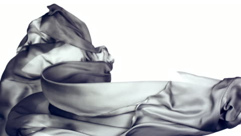 metallic silver silky fabric flowing and waving horizontally in super slow motion and close up, white background - grey colour stock videos & royalty-free footage