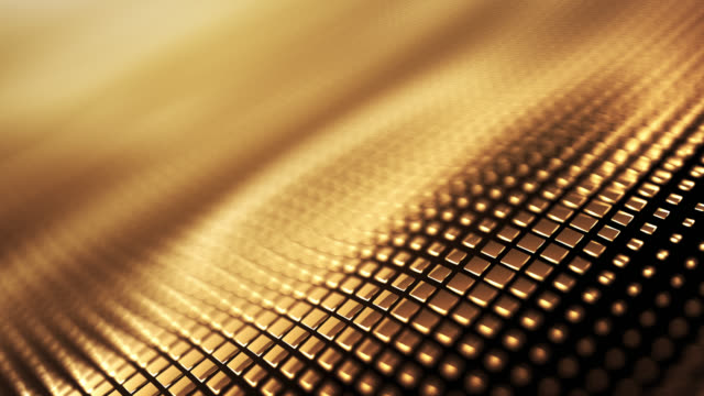 metallic wave background (gold) - loop - gold coloured stock videos & royalty-free footage