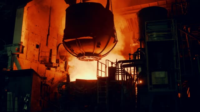 metallurgical plant - the furnace is filled with scrap metal - steel stock videos & royalty-free footage