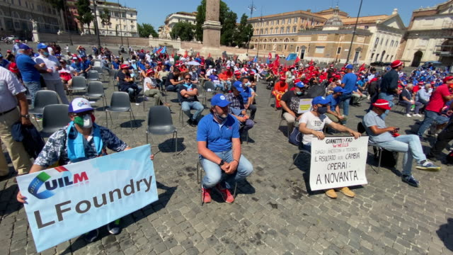 metalworkers protest safely against the italian government, they are unhappy about the economic problems the country is facing a result of the... - other stock videos & royalty-free footage