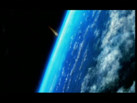 CGI, VIEW FROM SPACE, Meteor approaching to Planet Earth, hitting atmosphere and burning