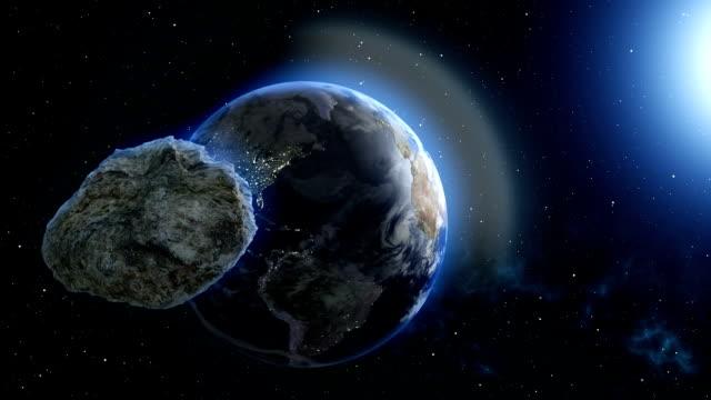 地球の 3 d 図の流星ハエ - 隕石点の映像素材/bロール