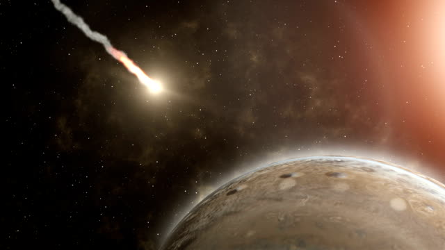 meteor flies to jupiter, and explosion - stock footage - meteor stock videos & royalty-free footage