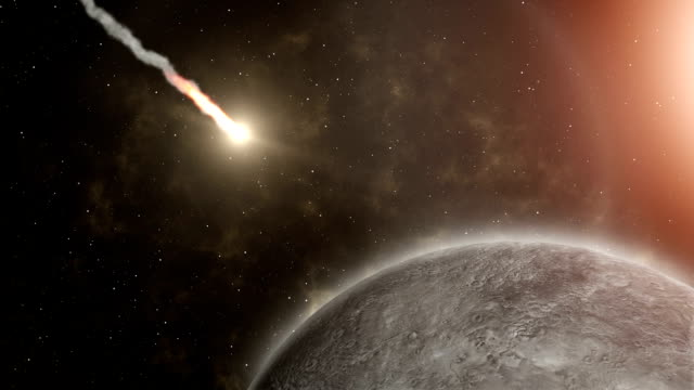 Meteor flies to Mercury, and Explosion - Stock Footage