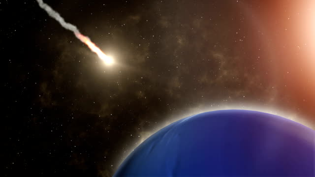 Meteor flies to Neptune, and Explosion - Stock Footage