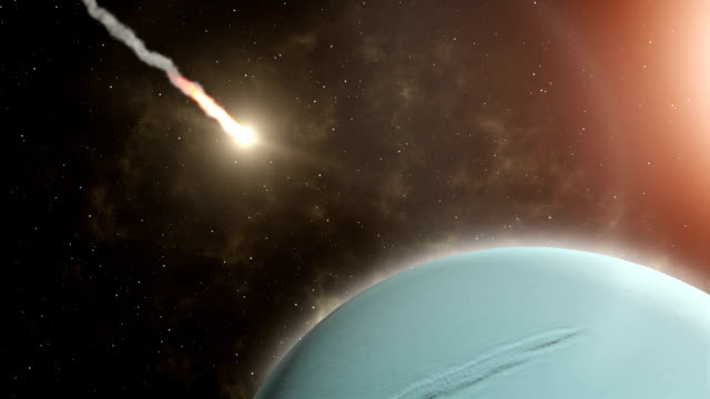 Meteor flies to Uranus, and Explosion - Stock Footage