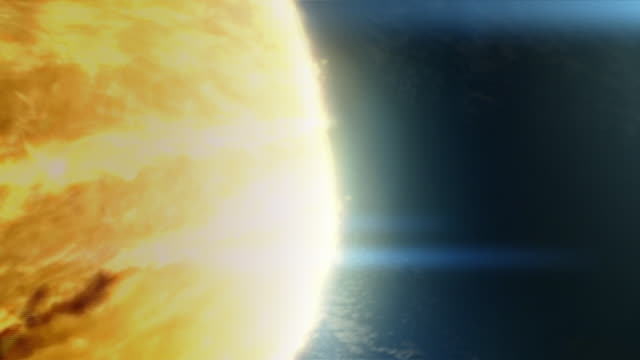 vídeos de stock e filmes b-roll de a meteor hurls toward the earth, impacts, and kills the dinosaur population in a computer generated animation. - meteoro