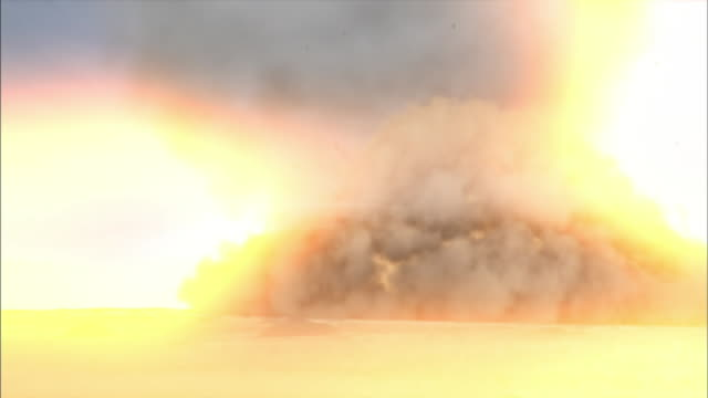 a meteor impact creates a tremendous explosion. - exploding stock videos & royalty-free footage