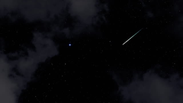 4K: Meteor shower in a cloudy night
