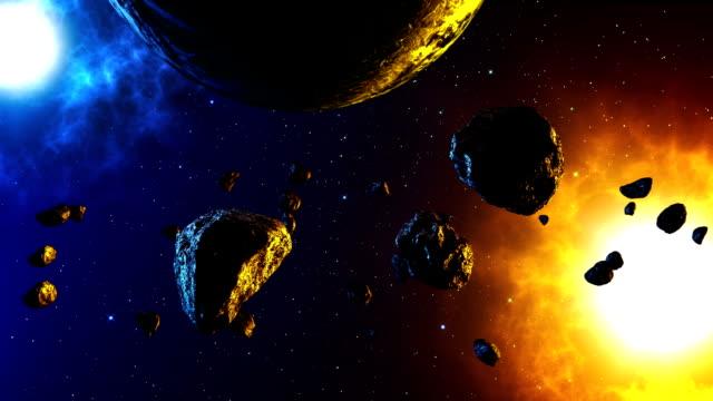 vídeos de stock e filmes b-roll de meteoro no espaço animação - meteoro