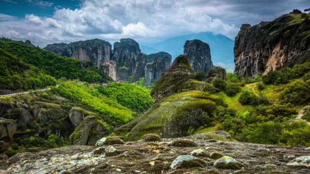 meteora monasteries in greece kalambaka - time lapse tracking shot - dramatic landscape stock videos & royalty-free footage