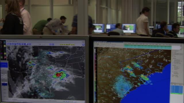 meteorologists monitor radar displays. - meteorology stock videos & royalty-free footage