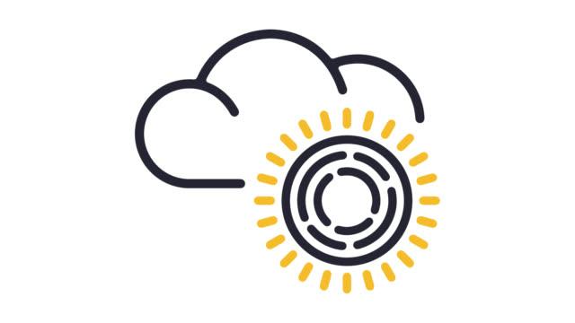 meteorologie wissenschaft linie symbol animation mit alpha - computergrafiken stock-videos und b-roll-filmmaterial