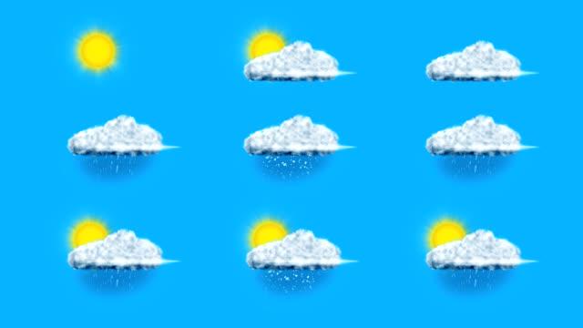 vídeos y material grabado en eventos de stock de meteorología símbolos - tiempo atmosférico