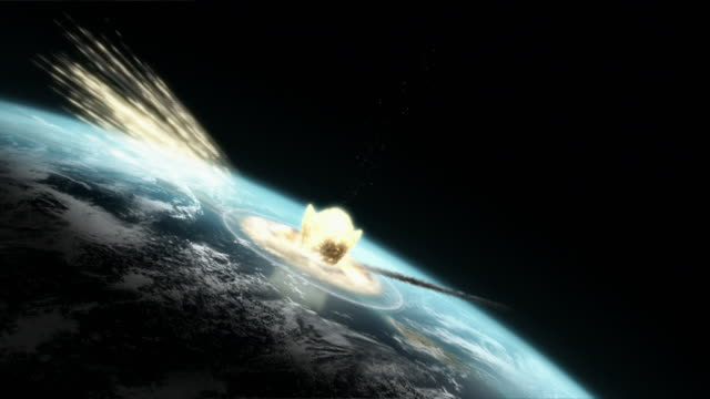 meteors impact the earth in a computer generated animation. - meteor weltall stock-videos und b-roll-filmmaterial