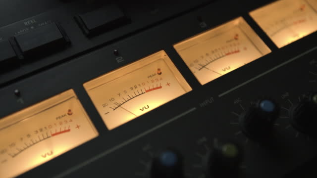 vu meter tape recorder in sound studio - audio software stock videos & royalty-free footage