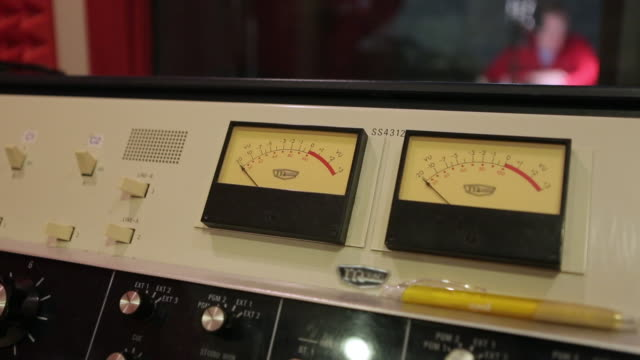 VU meters and sound console in radio station