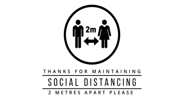2 metre social distance animation on white background - computer icon stock videos & royalty-free footage