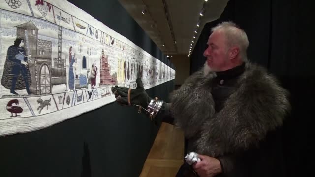 a 90 metre tapestry depicting all eight seasons of the fantasy saga game of thrones is being shown in bayeux normandy until december 31st - tapestry stock videos & royalty-free footage