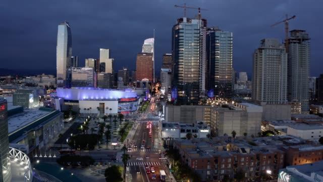 metro los angeles aerial night - staples centre stock videos & royalty-free footage