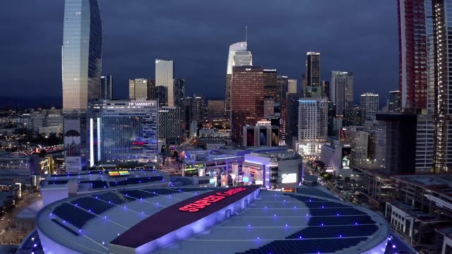 metro los angeles aerial night - staples center video stock e b–roll
