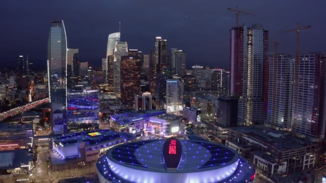 metro los angeles aerial night - staples centre stock videos & royalty-free footage