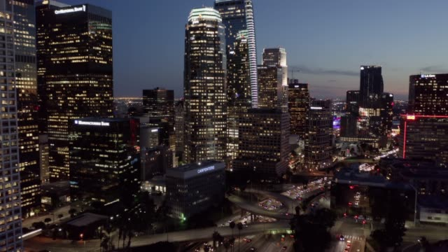 metro los angeles aerial night - city of los angeles stock videos & royalty-free footage
