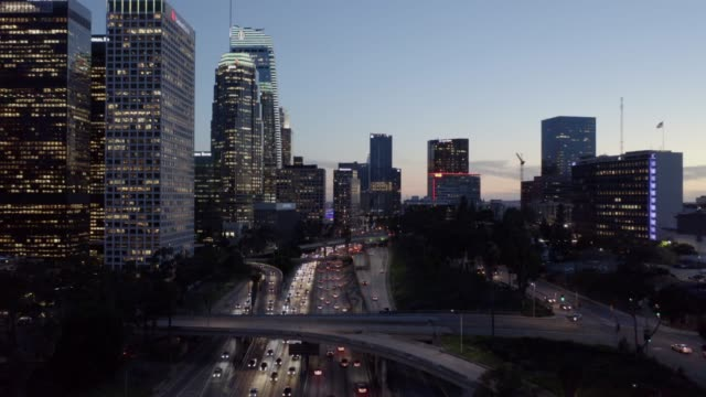 metro los angeles aerial night - city of los angeles stock-videos und b-roll-filmmaterial
