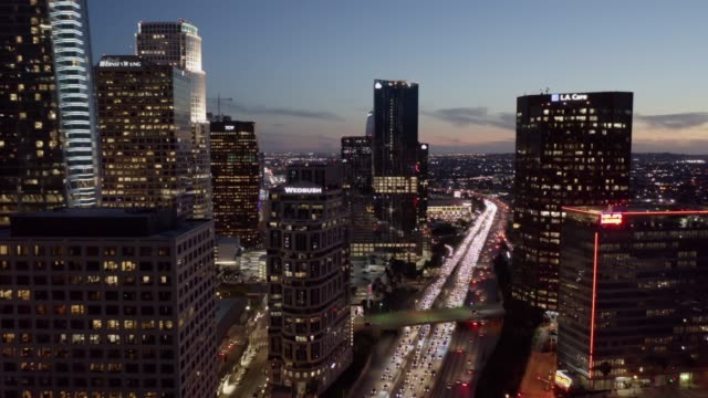 metro los angeles aerial night - downtown stock videos & royalty-free footage