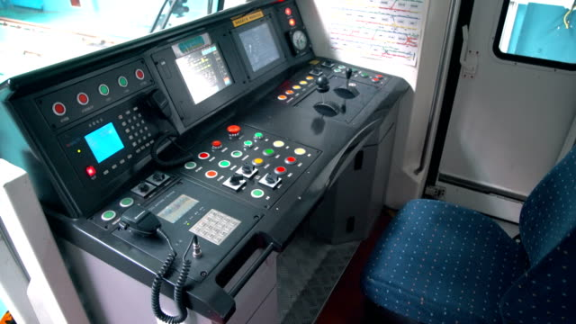 metro operator's cab,xi'an,china. - abitacolo video stock e b–roll