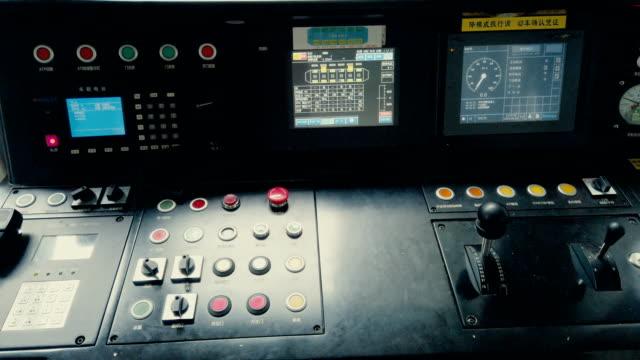 metro operator's cab,xi'an,china. - lokomotive stock-videos und b-roll-filmmaterial