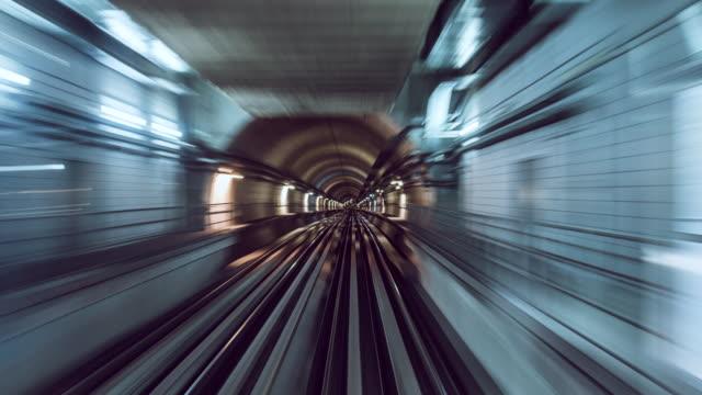 t/l metro rail riding through tunnel / dubai, uae - the way forward stock videos & royalty-free footage