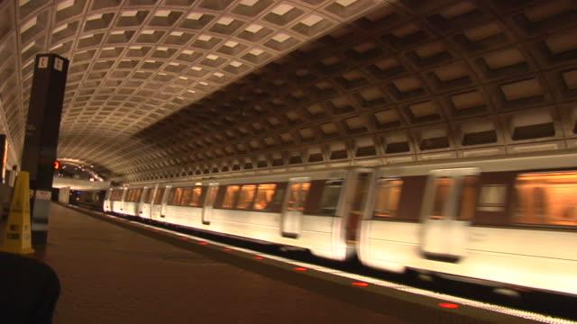 DC Metro Rail Station Wide-Shot Train Arrives