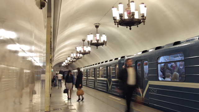 t/l zo metro stop narvskaya 4 - russia stock videos and b-roll footage