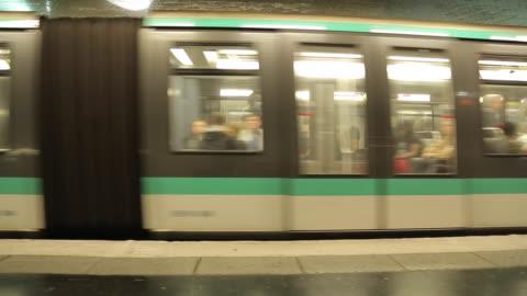 metro train at saint-germain-des-pres, paris, france, europe - sitting stock videos & royalty-free footage