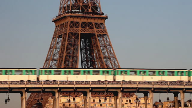 MS Metro trains crossing Pont de Bir-Hakeim, Eiffel Tower in background, Paris, France