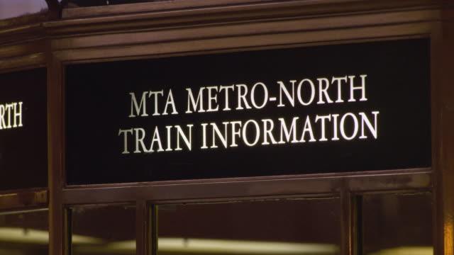 mta metro-north train information sign in grand central terminal in manhatttan - grand central station manhattan stock videos & royalty-free footage