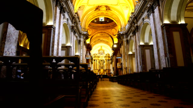 metropolitan cathedral in buenos aires, argentina - congregation stock videos & royalty-free footage