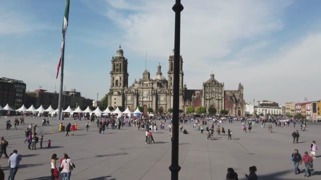 metropolitan cathedral in mexico city - zocalo mexico city stock videos & royalty-free footage