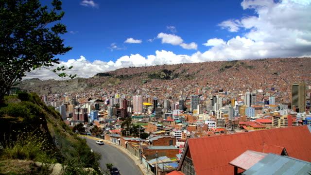 metropolitan la paz suburban dwellings and slums bolivia - スラム街点の映像素材/bロール