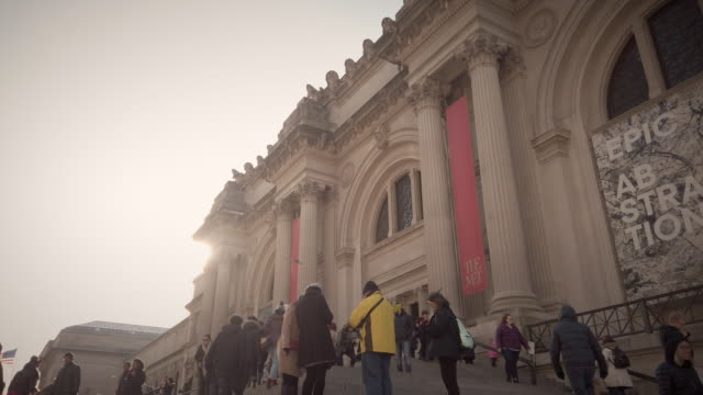 metropolitan museum of art exterior with people in slow motion - museum stock videos & royalty-free footage