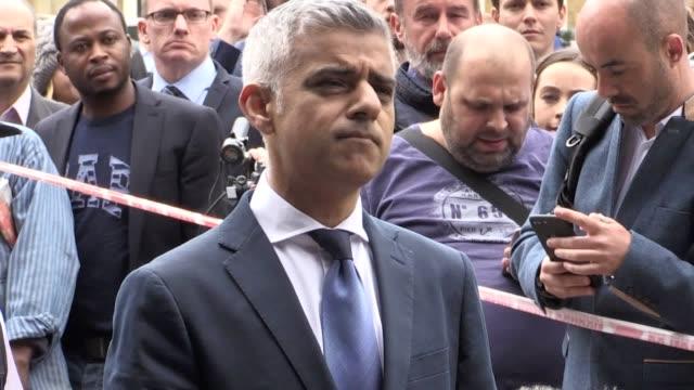 Metropolitan Police Commissioner Cressida Dick and Mayor of London Sadiq Khan speak to the media as they visit the scene near London Bridge following...