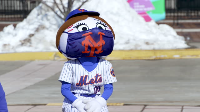 mets team mascots mrs. met and mr. met. mega covid-19 vaccination hub opens at the citi field new york mets baseball stadium in the borough of queens... - waist up stock videos & royalty-free footage