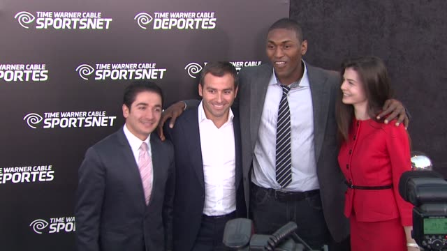 metta world peace at time warner sports celebrates launch of time warner cable sportsnet and time warner cable deportes networks on 10/1/2012 in el... - el segundo stock videos & royalty-free footage