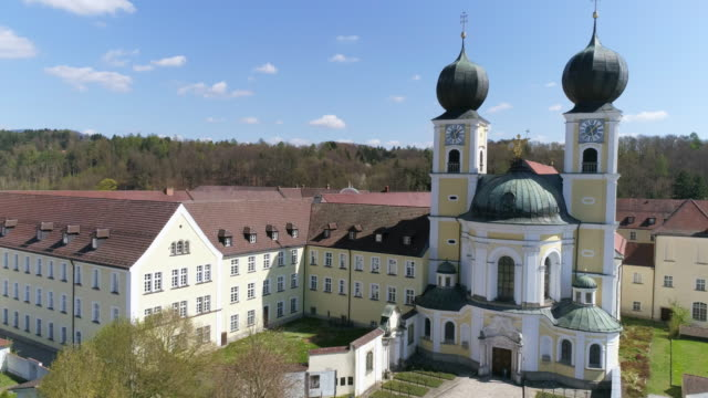 metten monastery in lower bavaria flyover - dome stock videos & royalty-free footage
