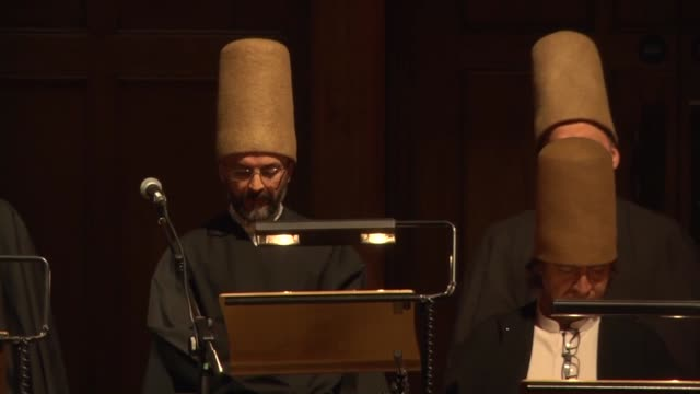 'mevlevi sema' ceremony is performed by konya turkish sufi music ensemble aka 'whirling dervishes' at cadogan hall in london england on january 16... - sufism stock videos & royalty-free footage