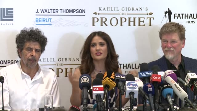 mexican actor and director salma hayek was in the lebanese capital on monday to promote her film the prophet based on lebanese author kahlil gibrans... - author stock videos & royalty-free footage
