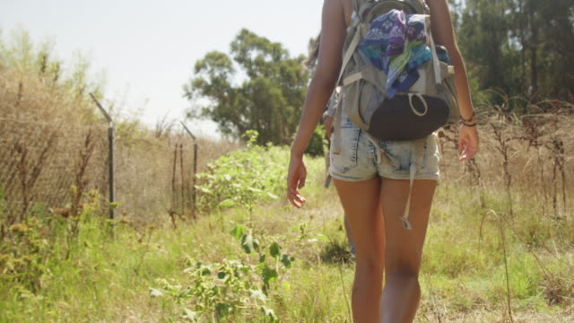 mexican couple hiking in the countryside - gemeinsam gehen stock-videos und b-roll-filmmaterial