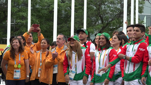 mexican delegation in the athlete village during the pan am games on july 8, 2015; in toronto, ontario, canada. the pan american games is a major... - mexican american stock videos & royalty-free footage